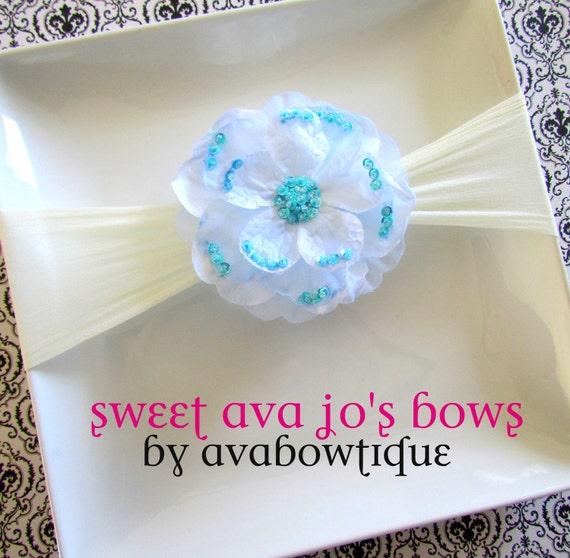 Justyna- Baby Blue Sequin Flower Nylon Headband