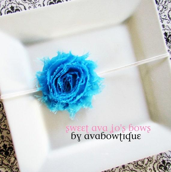 Wendy- Ocean Blue Frayed Chiffon Rosette Flower Skinny Headband