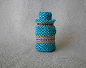 Beaded Jar with Stopper  Aqua with Stripes