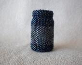 Beaded Bottle in Dark blue with stripe