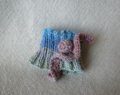 Knitted Cuff in Blue and Rust