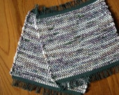 Handwoven Table Mat in Forest Green, Lilac and White