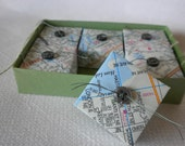 Map Origami Box Set - Upcycled Map Paper