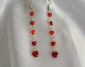 Falling  Red Hearts Earrings
