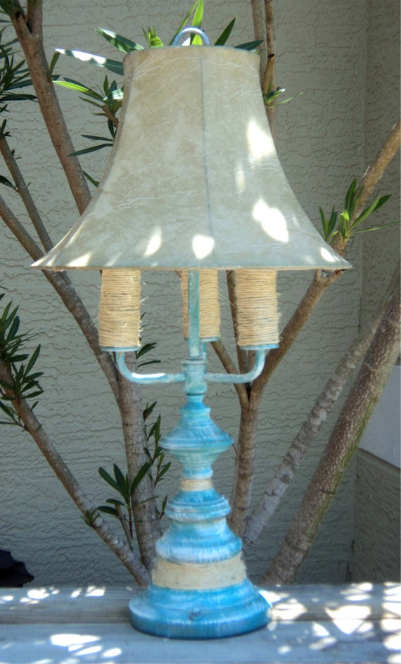 Beach-y, Up Cycled Table Lamp, 3 Bulb Casual Cottage Decor