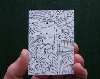 Doodle J5, ACEO, Original Illustration