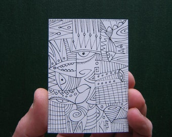 Doodle J6, ACEO, Original Illustration