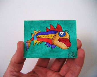 Fish J33, ACEO, Original Watercolor