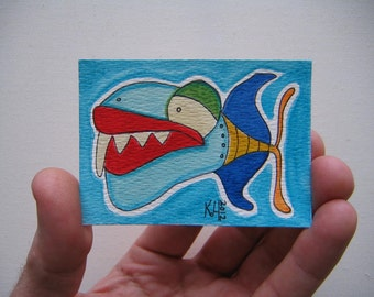 Fish J41, ACEO, Original Watercolor by Fig Jam Studio