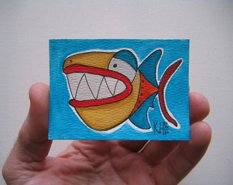 Fish J43, ACEO, Original Watercolor by Fig Jam Studio