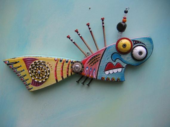 Twisted Fish 69 - Original Found Object Art by Fig Jam Studio