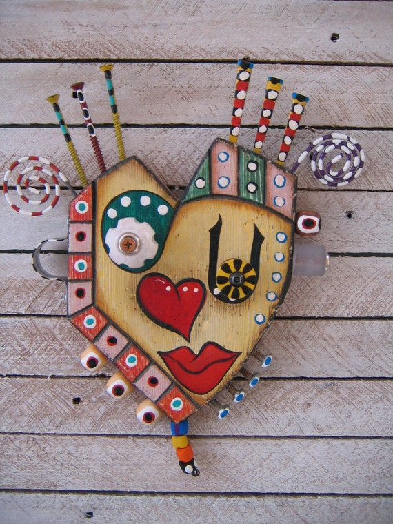 Art Heart 2 - Eye Heart U - Found Object Wall Art by Fig Jam Studio - FREE SHIPPING