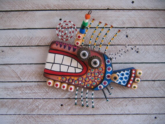 Twisted Fish 123 - Found Object Wall Art by Fig Jam Studio