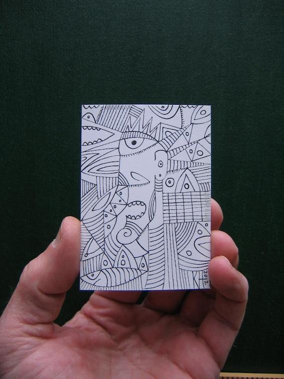 Doodle J5, ACEO, Original Illustration