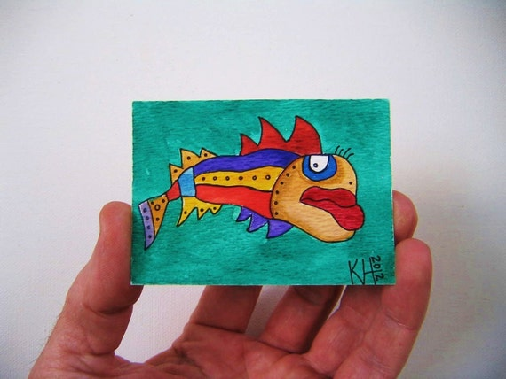Fish J33, ACEO, Original Watercolor