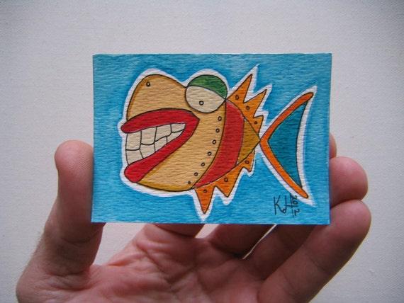 Fish J42, ACEO, Original Watercolor by Fig Jam Studio