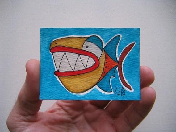 Fish J43, ACEO, Original Watercolor by Fig Jam Studio