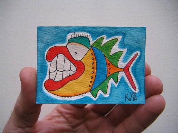 Fish J46, ACEO, Original Watercolor by Fig Jam Studio
