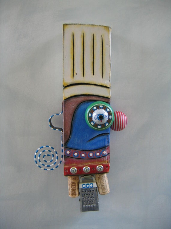 Chef Blue, Original Found Object Sculpture, Wall Art, Wood Carving, by Fig Jam Studio