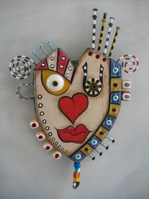 Art Heart 4 - Eye Heart U - Found Object Wall Art by Fig Jam Studio