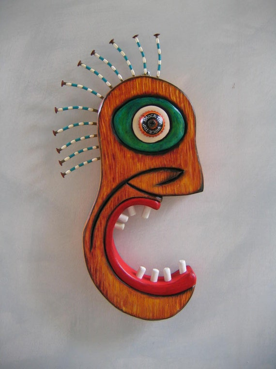 OMG - Original Sculpture, Wall Art, Wood Carving, by Fig Jam Studio