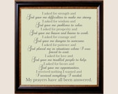 My Prayers Have All Been Answered poem - Customizable 8x8 Print in Many Colors