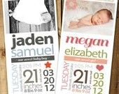 Newborn Stats Birth Announcement, Size 4x8 - PRINTABLE file - Fully Customizable - Matching Nursery Print Available