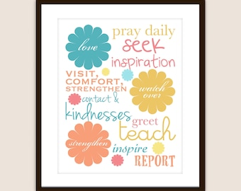 Instant Download -Subway Print 'Love, Watch Over and Strengthen' April 2012 VT message - Printable in 4x6, 5x7, 8x10 and 4 to a page