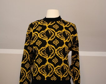 80s Black and Gold Geometric Sweater - SUPER Soft!