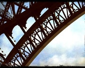 Eiffel's Lacey Steel with blue sky.  5x7 Fine Art Photograph.  Paris Eiffel Tower Picture with blue sky and clouds.  Eiffel Tower for home