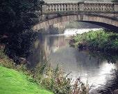 Romantic Bridge Photo, Nature Landscape Photo, Scotland, Glasgow, river, green, gothic, mystical, Garden Park, 8x10 Photo, Travel photo