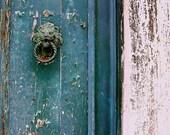 boxing day sale, rustic turquoise door, deep teal, weathered, antiqued, door knocker, lion, venetian, venice, water,  8x10 Fine Art Photo
