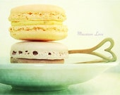 Macaron Love - 8x10 Fine Art Photograph.  Food Photography of french macaron cookies in pale pastel colors.