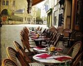 Paris, Paris photograph, coffee, cafe, paris photograph, morning, travel photograph, 8x10 Fine Art Photography