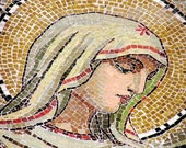Tranquility in Mosaic Virgin Mary Red Cream Green Photograph Russia- 8x10 Fine Art Photograph