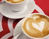 coffee photo, coffee hearts, cafe photo, coffee picture, coffee print, kitchen art, cappuccino, crimson red, red and white, travel photo