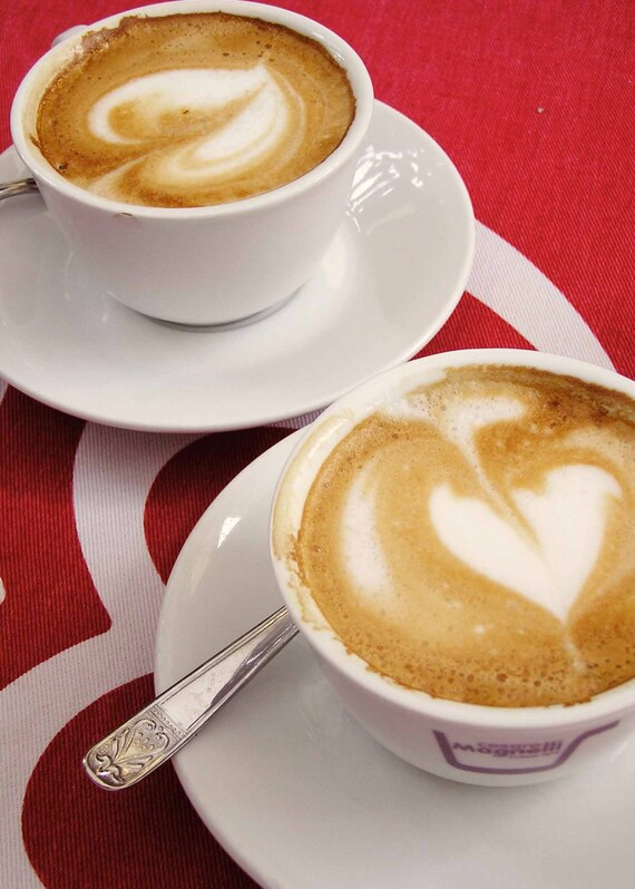 valentines hearts, coffee hearts, coffee photo, coffee print, kitchen art, cappuccino, crimson red, red and white, travel photo, shabby chic