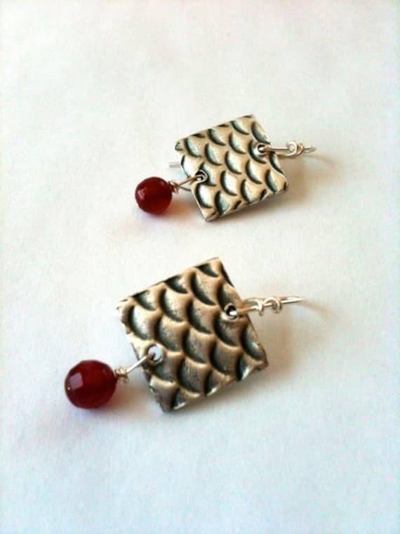 Koi Pattern Earrings with Ruby Agate Drops