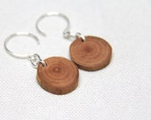 petite cherry - sterling silver branch slice earrings