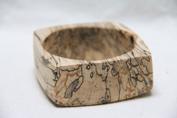 calico -  natural wood bangle in spalted maple - large