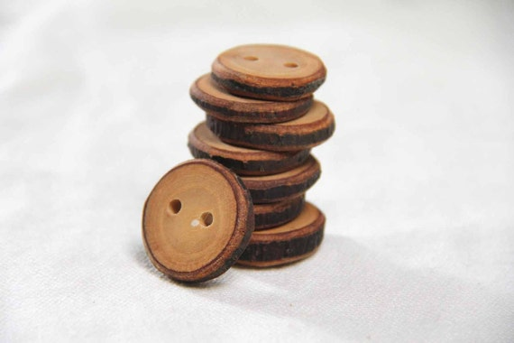 tan - ash branch buttons with a bit of bark - 8 buttons