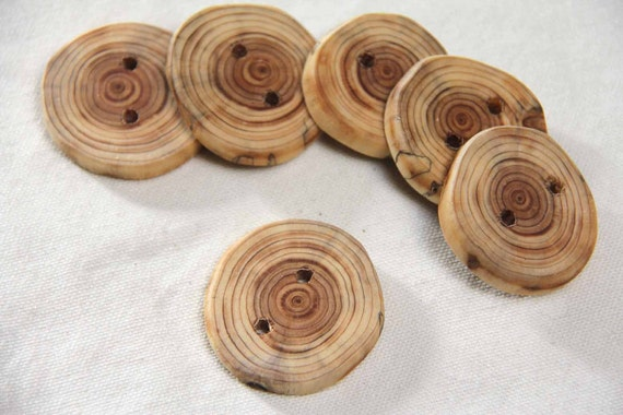 cedar - round wood tree branch buttons
