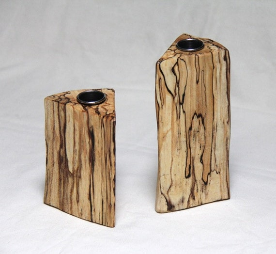 wedge - spalted maple bud vases made from firewood