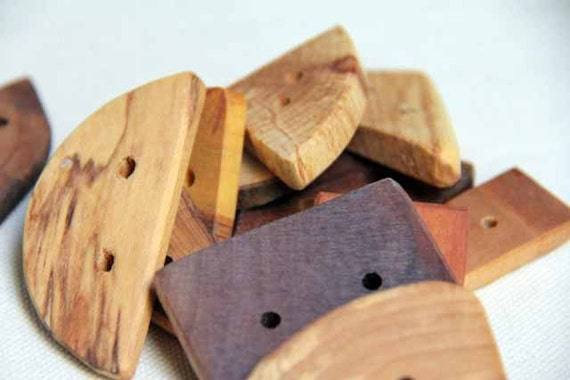 mix n match a dozen - natural wood buttons in different shapes and sizes