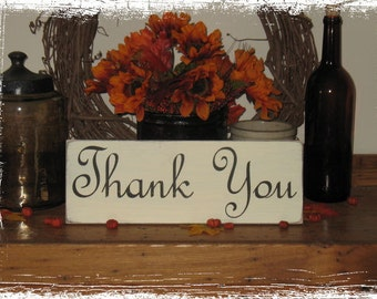 Thank You -WOOD SIGN- Photography Prop Wedding Baby Shower Reception Party Gift Thankyou Notes