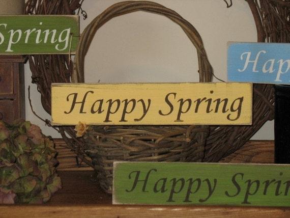 Happy Spring- Spring Decor Sign- Easter Basket Gift -WOOD SIGN- Easter Decor Wall Hanging Spring Decoration Primitive Sign