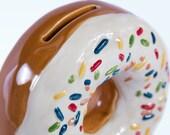 Ceramic Doughnut Coin Bank, Vanilla