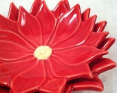 Vintage Ceramic Nesting Poinsettia Dishes, Two Piece