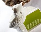 Vintage Handmade Ceramic Owl Business Card Holder Desk Decor , White