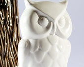 Vintage Ceramic Owl Coin Bank Home Accessories , White